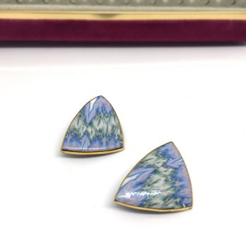 Vintage Handmade Marbled Clay Earrings in Blue Lilac, 1980s