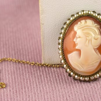 Vintage Shell Cameo Brooch with Seed Pearls, Italian Hand Carved Cameo, 1950s