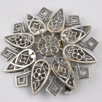 Vintage Floral Brooch with Trombone Clasp, Silver Electroplated Brass