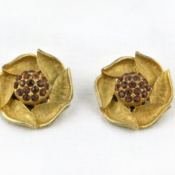 Vintage Dog Rose Clip on Earrings with Amber Glass Rhinestones, Statement Earrings