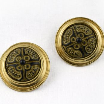 Vintage LERITZ Clip on Statement Earrings with Carved Resin Centres, Signed, 1980s