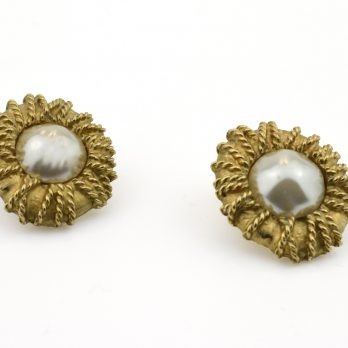 Vintage Jacques Esterel Clip-on Earrings with Baroque Pearl Centres, Signed