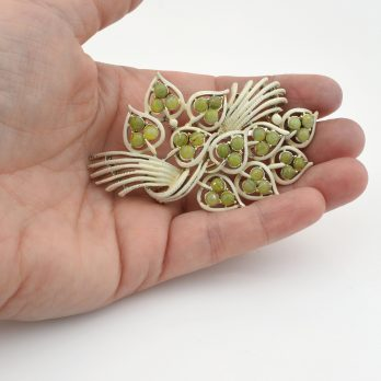Vintage Leaf Brooch with Green Marble Stones