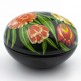Vintage Handpainted Round Trinket Box with Floral Artwork, Lacquered Wood