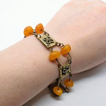 Metal Link Bracelet with Amber Bakelite Beads, Collectible
