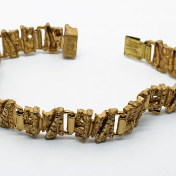 Brutalist Bronze Bracelet, Made in Finland, Scandinavian Modernist