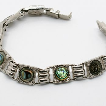 Vintage Abalone Link Bracelet, White Metal with Round Shells