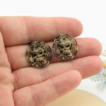 Brass Crowned Salamander Clip on Earrings, French, Vintage