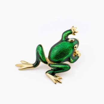 Articulated Frog Brooch with Moving Legs, Novelty Pin